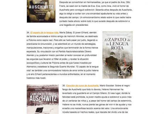 El Zapato entre los 41 mejores libros sobre el Holocausto